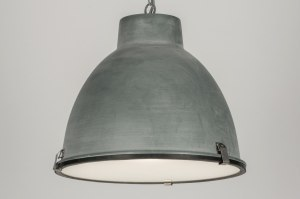 pendant light 72229 industrial look rustic aluminium metal concrete gray round