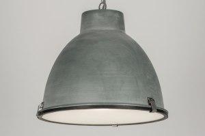 hanglamp 72229 industrie look landelijk rustiek aluminium metaal betongrijs rond