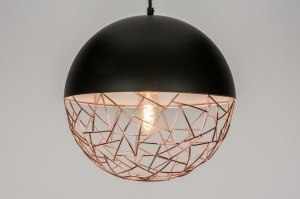 pendant light 72230 modern retro metal black matt copper red copper round
