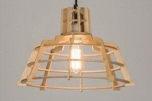 hanglamp 72233 modern landelijk rustiek design industrie look hout hout rond