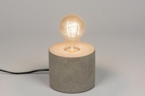 lampe de table 72239 look industriel rural rustique moderne lampes costauds beton gris beton rond