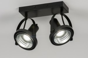 spotlight 72249 industrial look modern metal black matt round oblong