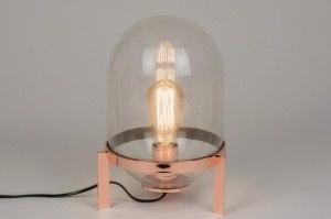 tafellamp 72250 sale landelijk rustiek modern eigentijds klassiek glas helder glas metaal koper roodkoper rond