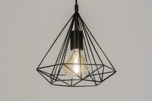 pendant light 72267 rustic modern metal black matt round