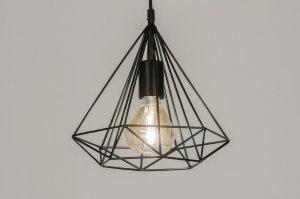 hanglamp 72267 landelijk rustiek modern metaal zwart mat rond