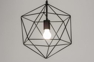 pendant light 72270 rustic modern metal black matt square