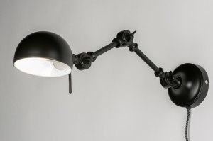 wall lamp 72273 industrial look rustic retro contemporary classical metal black matt round