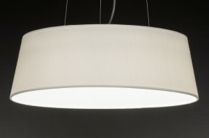 hanglamp 72286 sale modern landelijk rustiek creme wit stof rond