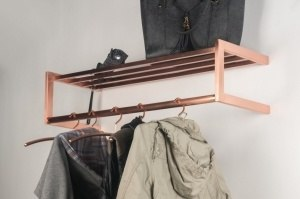 Hallstand 72295: modern, red copper, steel stainless steel, rectangular