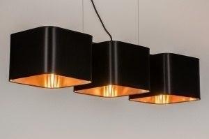 hanglamp 72320 modern landelijk rustiek goud zwart stof langwerpig rechthoekig vierkant
