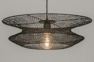 hanglamp 72387 landelijk rustiek modern metaal zwart rond