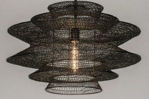 hanglamp 72388 modern landelijk rustiek zwart metaal rond