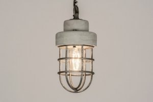 suspension 72390 look industriel moderne lampes costauds retro beton gris beton rond