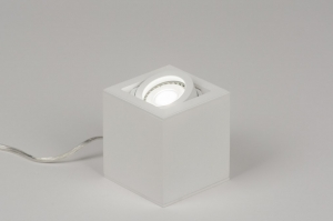 table lamp 72396 designer modern aluminium metal white matt square