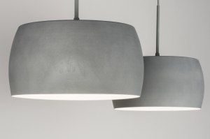 pendant light 72400 industrial look designer rustic modern retro aluminium metal concrete gray round oblong
