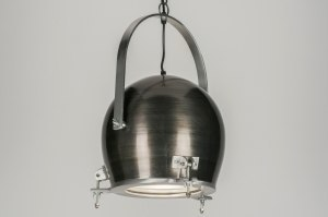 suspension 72454 look industriel moderne lampes costauds aluminium acier gunmetal oldmetal rond