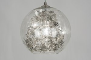 hanglamp 72497 sale modern eigentijds klassiek retro art deco chroom transparant kleurloos glas helder glas staal rvs rond