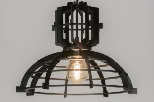 hanglamp 72498 sale industrie look design landelijk rustiek modern hout zwart hout rond
