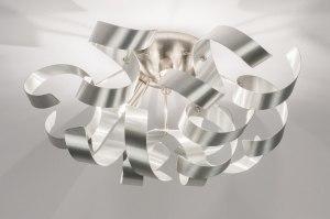 plafondlamp 72501 modern aluminium geschuurd aluminium metaal aluminium rond