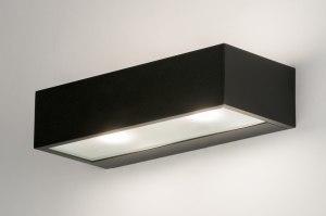 wandlamp 72517 modern aluminium metaal zwart mat langwerpig rechthoekig