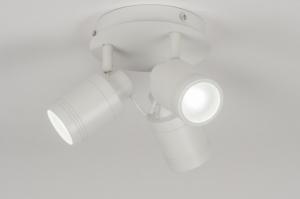 plafondlamp 72530 landelijk rustiek modern aluminium metaal wit mat rond