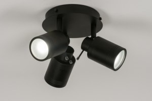 spotlight 72531 industrial look modern aluminium metal black matt round