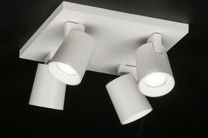 plafondlamp 72575 modern design wit mat aluminium metaal vierkant
