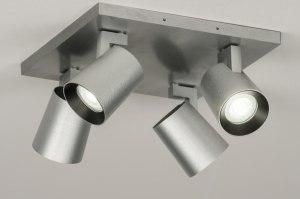 plafondlamp 72577 sale design modern aluminium geschuurd aluminium metaal aluminium vierkant