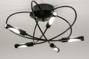 plafondlamp 72600 modern eigentijds klassiek zwart glans metaal rond