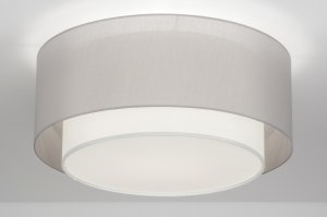 ceiling lamp 72621 rustic modern contemporary classical fabric grey round