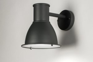 wall lamp 72659 industrial look rustic modern aluminium metal black matt dark gray round