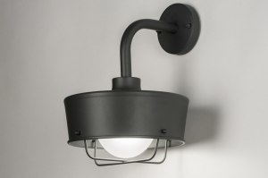 wall lamp 72660 industrial look rustic modern aluminium metal black matt dark gray round
