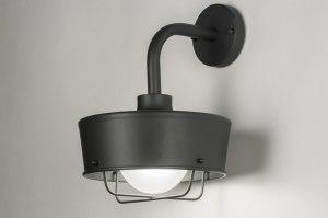 wandlamp 72660 industrie look landelijk rustiek modern aluminium metaal zwart mat antraciet donkergrijs rond