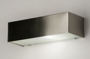 wall lamp 72664 modern steel gray metal steel stainless steel rectangular