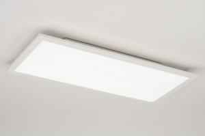 Lampara de techo 72680 Diseno Moderno Aluminio Material sinteticos Blanco Mate Oblongo Rectangular
