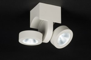 plafondlamp 72683 modern landelijk rustiek design wit mat aluminium metaal langwerpig rond