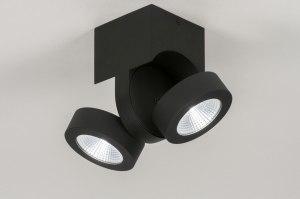 plafondlamp 72684 modern design zwart mat aluminium metaal rechthoekig rond