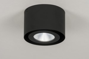 plafondlamp 72686 modern design industrie look zwart mat aluminium metaal rond