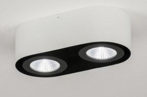 plafondlamp 72690 modern design wit mat zwart aluminium metaal langwerpig