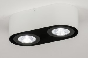 Lampara de techo 72690 Diseno Moderno Aluminio Metal Negro Blanco Mate Oblongo