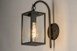 wall lamp 72711 rustic modern aluminium metal black matt dark gray rectangular lantern