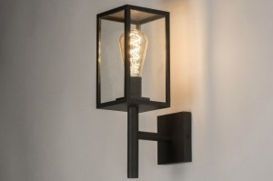 wall lamp 72712 rustic modern glass clear glass aluminium black matt rectangular lantern