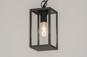 suspension 72714 rural rustique moderne classique contemporain verre verre clair aluminium acier noir mat anthracite lanterne