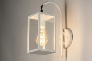 wandlamp 72716 sale landelijk rustiek modern eigentijds klassiek glas helder glas aluminium metaal wit mat rechthoekig lantaarn