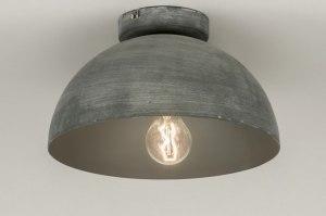 ceiling lamp 72731 rustic modern raw aluminium metal concrete gray round