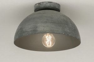 plafondlamp 72731 landelijk rustiek modern stoer raw aluminium metaal betongrijs rond