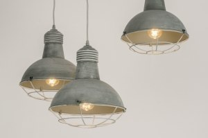 suspension 72734 look industriel rural rustique moderne lampes costauds acier gris beton rond