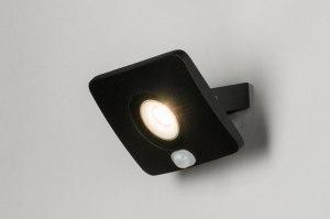 wandlamp 72751 modern zwart mat aluminium metaal rechthoekig