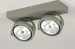 plafondlamp 72761 sale modern industrie look stoer raw betongrijs aluminium metaal langwerpig