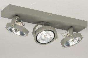 plafondlamp 72762 sale modern industrie look stoer raw betongrijs aluminium metaal langwerpig